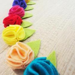 Mini Felt Rosette Hair Clip OR Headband ~ FELT